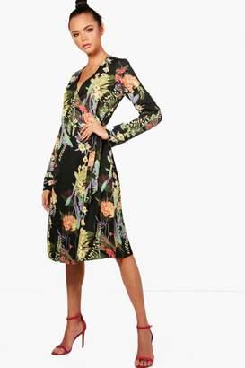 boohoo Tall Floral Print Wrap Kimono Dress