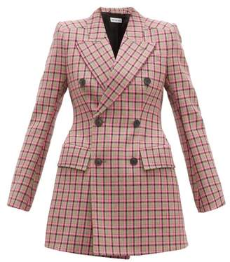 Balenciaga Hourglass Double Breasted Wool Blazer - Womens - Pink Multi