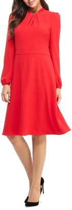 Maggy London Pleat Twist Neck Long Sleeve Dress