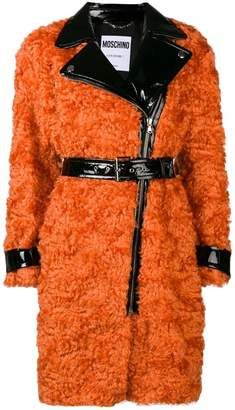 Moschino belted shearling coat