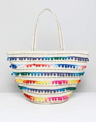 America & Beyond Tie Dye Embroidered Beach Bag