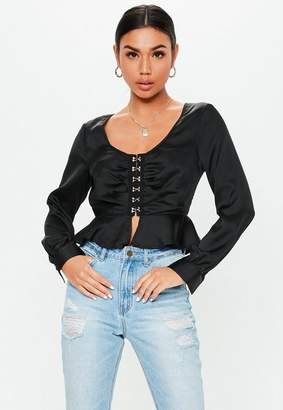 Missguided Black Satin Hook And Eye Peplum Top