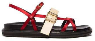 Marni Fussbett Satin And Patent Leather Sandals - Womens - Burgundy Beige