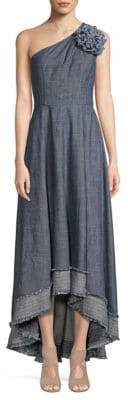 Trina Turk Found In Translation Belair Chambray One-Shoulder Midi Dress
