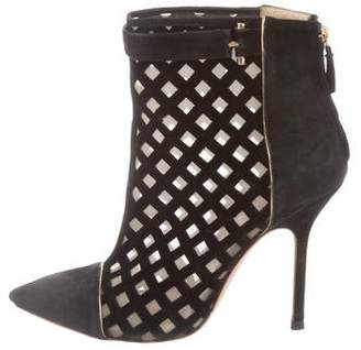 Pollini Caged Suede Ankle Booties