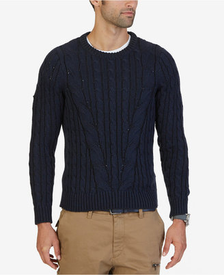 Nautica Men's Mapped Cable-Knit Sweater $128 thestylecure.com