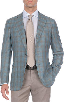 Isaia Two-Tone Plaid Wool-Blend Sport Coat