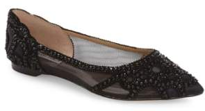 Badgley Mischka Gigi Crystal Pointy Toe Flat