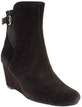 Isaac Mizrahi Live! Suede Wedge Ankle Boots