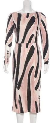 Rachel Comey Silk Brush Stroke Print Midi Dress