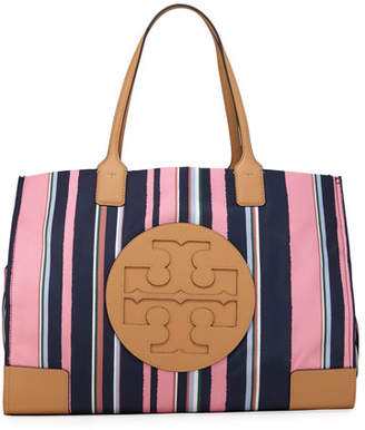 Tory Burch Ella Striped Nylon Tote Bag