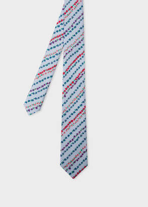 Paul Smith Men's Light Blue 'Floral Stripe' Print Narrow Silk Tie