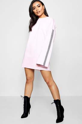 boohoo Lily Wide Sleeve Checked Tape Sweat Dress
