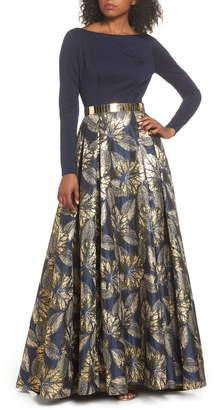 Mac Duggal Ieena For  Long Sleeve Metallic Waist Print Gown
