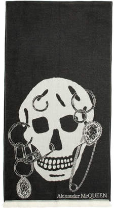 Alexander McQueen Black and Off-White Chained Skull Scarf