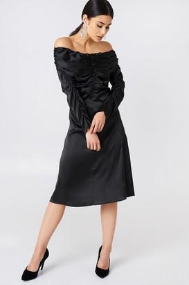 Na Kd Party Ruched Detail Off Shoulder Dress Black