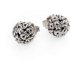 John Hardy Classic Chain Sterling Silver Knot Stud Earrings