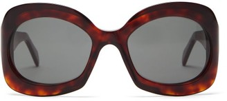 Celine Round Tortoiseshell Effect Acetate Sunglasses - Womens - Tortoiseshell