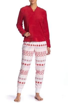 Couture PJ Faux Shearling & Faux Fur Hooded Plush Fox Pajama Set