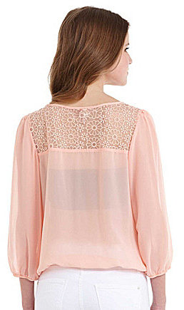 I.N. San Francisco Pleated Lace-Back Blouse