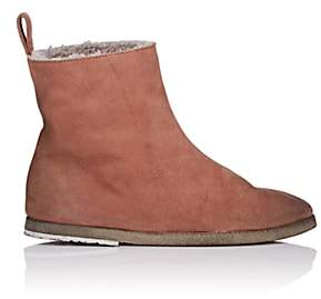 Marsèll Women's Shearling-Lined Suede Ankle Boots - Pink