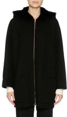 Agnona Cashmere Zip-Front Parka with Mink Fur Hood, Black