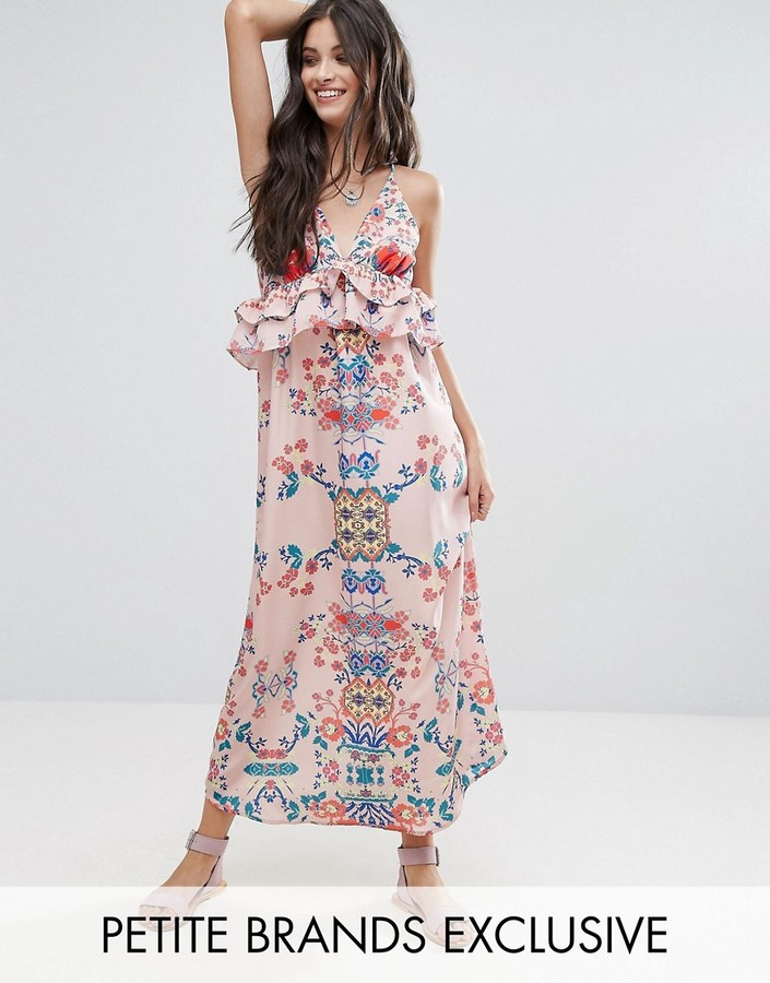 White Cove Petite Frill Layered Maxi Dress In Bright Floral Print