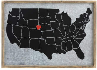 Williston Forge 'USA Map with Heart Magnet' Framed Graphic Art