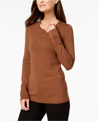 JM Collection Studded-Cuff Sweater