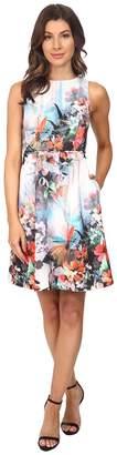 Adrianna Papell Placed Print Fit Flare Scuba Dress Women's Dress