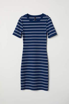 H&M Ribbed Dress - Dark blue/white striped - Women