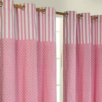 Camilla And Marc Homescapes Polka Dots Pink Ready Made Eyelet Curtain Pair, 137 X 228 Cm Drop