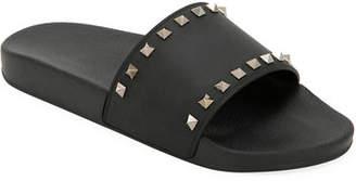 Valentino Men's Rockstud Pool Slide Sandals