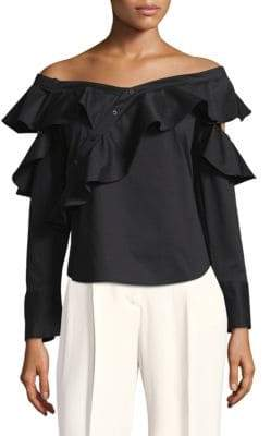 Laundry by Shelli Segal Ruffled Off-The-Shoulder Top