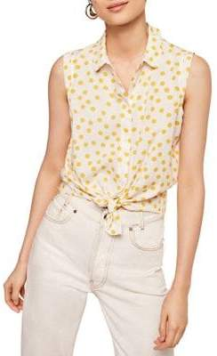 MANGO Paula Printed Sleeveless Button-Down Shirt