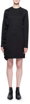 Victoria Beckham Victoria Crewneck Long-Sleeve Asymmetric Ruffle Chemise Jersey Dress