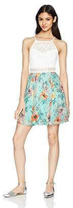 Amy Byer A. Byer Junior's Fit and Flare Dress with Illusion Waist