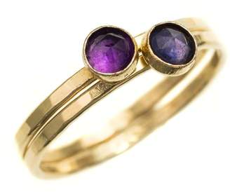 70a3180b8b4 Feather+Stone Gold Iolite and African Amethyst Rings