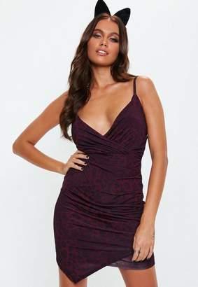 Missguided Purple Slinky Strappy Wrap Asymmetric Hem Mini Dress