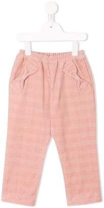 Familiar bow detail check trousers