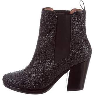 Robert Clergerie Glitter Round-Toe Ankle Boots