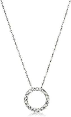 clear Sterling Silver Crystal Round Shape Pendant Necklace
