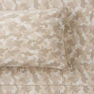 Pottery Barn Teen Essential Camo Print Jersey Sheet Set, Extra Pillowcases, Set of 2, Tan