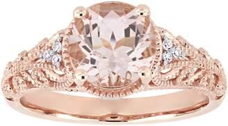 14K 1.75 cttw Morganite & Diamond Accent Vintage-Style Ring