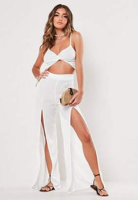 3d8cfc6a58 Missguided White Wide Leg And Bralet Co Ord Set