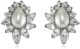 Swarovski Ben-Amun Jewelry Glass Pearl and Crystal Clip-On Earrings for Bridal Wedding Anniversary