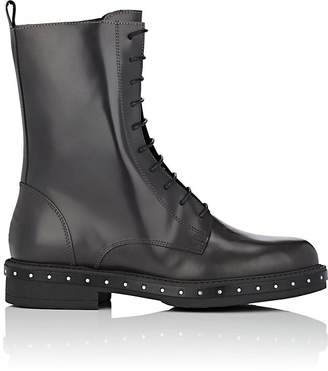 Barneys New York Women's Stud-Detailed Spazzolato Leather Combat Boots