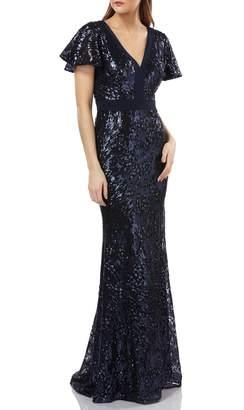 Carmen Marc Valvo Sequin Gown