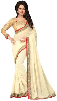 PinkCityCreations Indian Sarees for Women Wedding Designer Party Wear Traditional Off White Saree.