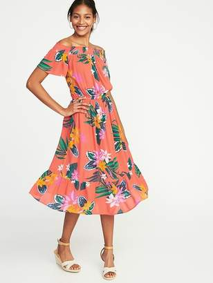 Old Navy Waist-Defined Off-the-Shoulder Crinkle-Gauze Midi Dress for Women